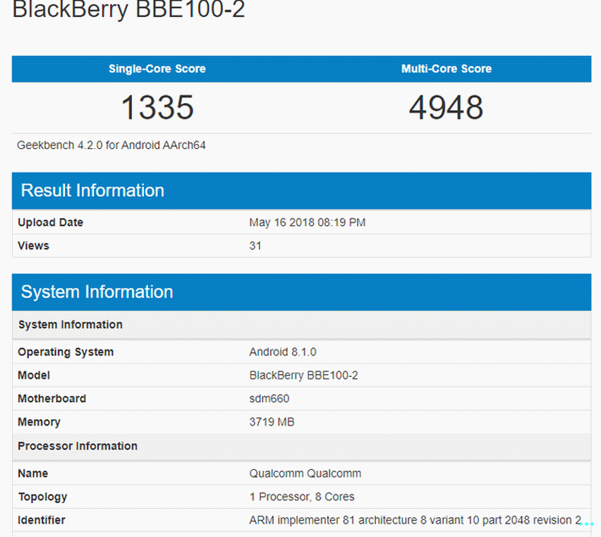 Blackberry BBE100-2 (BlackBerry KEY² LE) Geekbench